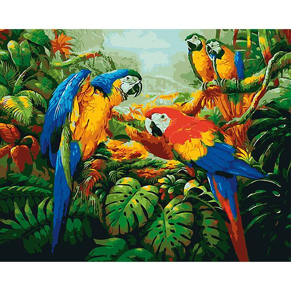 """Холст с красками по номерам """"Яркие попугаи"""" 40х50 см"""