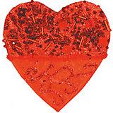 """Красное украшение """"Сердце"""" 10 см"""