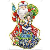 """наклейка """"Дед Мороз со Снегурочкой"""", 3D, 56*36см"""