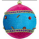 """Украшение шар """"Детский"""" флок, 9 см, розовый и лазурь"""