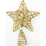 """Верхушка """"Плетеная звезда"""", Classic Gold 12 см, золото"""