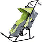 Санки-коляска ABC Academy Снегурочка 2P-1, серый/зеленый
