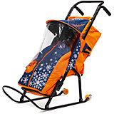 Санки-коляска ABC Academy Снегурочка 2P-1, с колесами, темно-синий / оранжевый