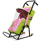 Санки-коляска ABC Academy Снегурочка 2P-1, с колесами, зеленый/розовый