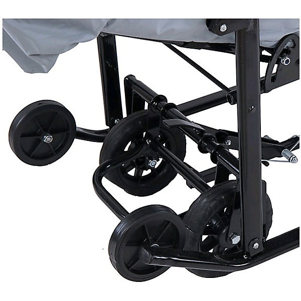 Санки-коляска ABC Academy Зимняя Сказка 1 Люкс, черная рама, серый/снежинки