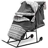 Санки-коляска Скандинавия 4УВ Софт Авто, серая рама, ABC Academy, серый
