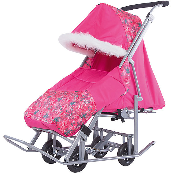 Санки-коляска ABC Academy Зимняя Сказка 5М Люкс, серая рама, розовый/снежинки