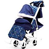 Санки-коляска ABC Academy Зимняя Сказка 5М Люкс, белая рама, синий/зоопарк