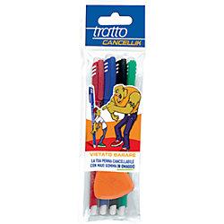 """Шариковая ручка """"пиши-стирай"""", 4 шт в блистере + дополнительный ластик в наборе."""