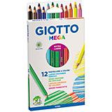 Утолщенные цветные деревянные карандаши, 12 шт.