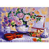 """Роспись по номерам """"Цветы и скрипка"""" 40*50 см"""