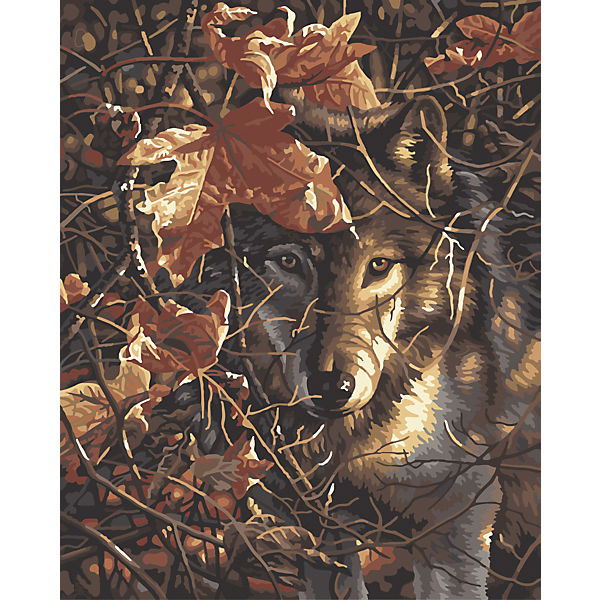 """Роспись по номерам """"Волк в осеннем лесу"""" 40*50см"""