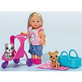 """Кукла """"Еви с двумя собачками и коляской"""", 12 см, Simba"""