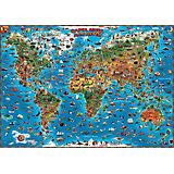 Карта мира для детей настенная 130 см