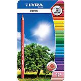 Цветные треугольные карандаши в металлическом пенале, 12 шт.