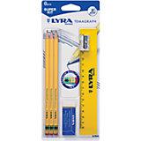 Чернографитные карандаши с ластиком 3 шт (с металлической точилкой, ластиком и линейкой)