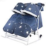 Санки-коляска ABC Academy Pikate Твин Звезды на белой раме, темно-синий
