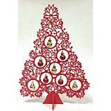 Новогодняя ель из МДФ красная (34 см)
