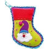 """Новогоднее подвесное украшение из ткани """"Носок"""" 18 см"""