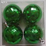 """Новогоднее подвесное украшение шар """"Зеленый диско"""" (4 см, набор 4 шт, пластик)"""