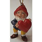 """Новогоднее подвесное украшение """"Гном влюбленный"""" (4.5*4.5*7.3см, из полирезины)"""