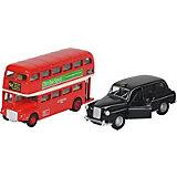 Машинка Автобус и Такси Лондон (2 шт в наборе) 12см, goki