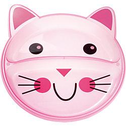 Тарелка с разделением Animals Котенок, 9+, Canpol Babies, розовый