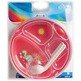 Термотарелка с ложкой и вилкой Colourful animals, 9+, Canpol Babies, красный