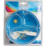 Термотарелка с ложкой и вилкой Colourful animals, 9+, Canpol Babies, синий