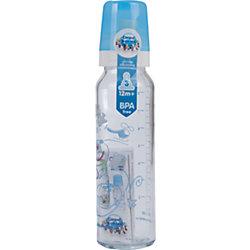 Бутылочка стеклянная с сил. соской, 240 мл. 12+, Canpol Babies, синий