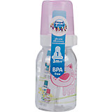 Бутылочка тритановая (BPA 0%) с сил. соской, 120 мл. 3+ Cheerful animals, Canpol Babies, котенок