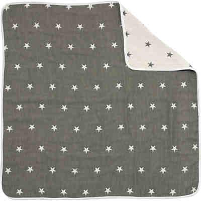kuscheldecke aus supermull sterne grau 105 x 105 cm alvi mytoys. Black Bedroom Furniture Sets. Home Design Ideas