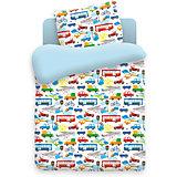 Детское постельное белье 3 предмета Непоседа, Городское движение, голубой