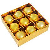 Набор елочных шаров,9 шт, цвет золото