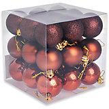 Набор елочных шаров, 27 шт, цвет кофейный