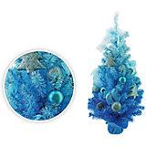 Елка декоративная с украшениями, 75 см, голубой цвет