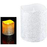 Светодиодная свеча, серебрянная с блестками