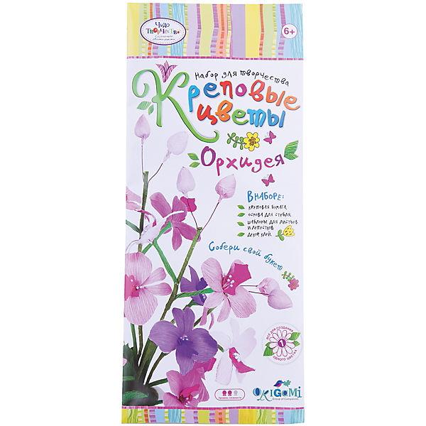 """Креповые цветы своими руками """"Орхидея"""" 3 цвета в ассортименте."""