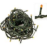 Электрогирлянда 180 миниламп, желтое свечение, зеленый провод, 8 режимов