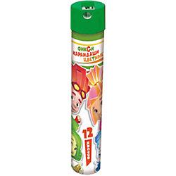 """Цветные карандаши """"Фиксики"""" 12 цветов, в металическом тубусе с точилкой"""