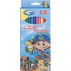 """Длинные цветные карандаши """"Пират"""" 12 цветов"""