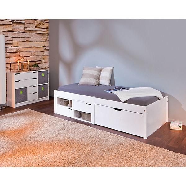 funktionsbett mit schubkasten h sby kiefer massiv wei 90x200 cm mytoys. Black Bedroom Furniture Sets. Home Design Ideas