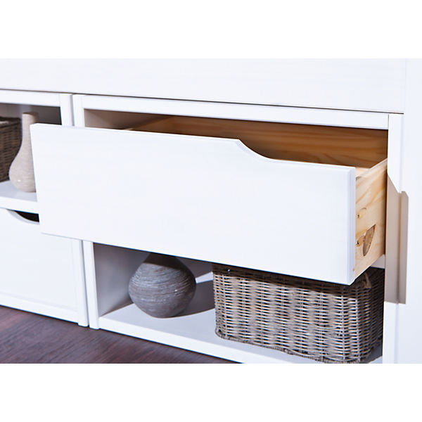 funktionsbett mit schubkasten h sby kiefer massiv wei 90x200 cm mytoys. Black Bedroom Furniture Sets. Home Design Ideas