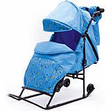 Санки-коляска Зимняя сказка 2В Авто, черная рама, ABC Academy, голубой/зоопарк