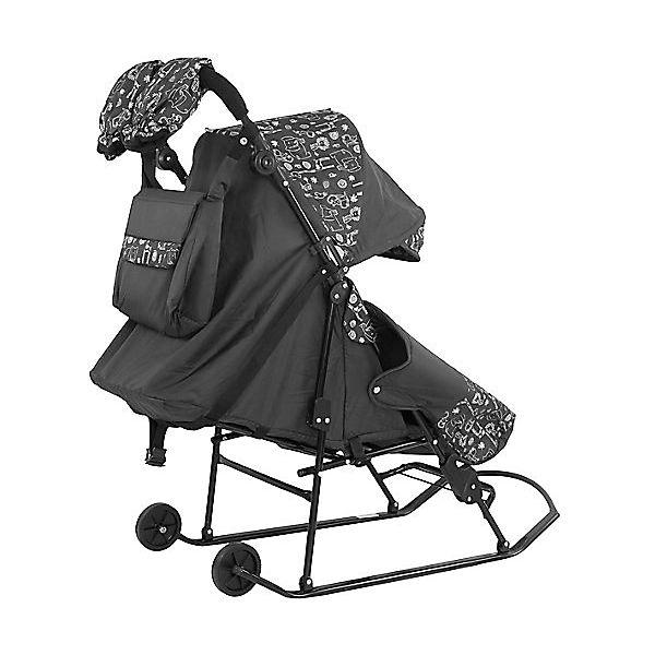 Санки-коляска ABC Academy Зимняя сказка 2В Авто, черная рама, розовый/снежинки