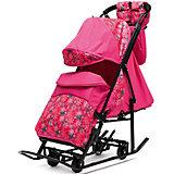 Санки-коляска ABC Academy Зимняя Сказка 3В + ВК , черная рама, розовый/снежинки