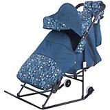 Санки-коляска Зимняя сказка 3В Авто, черная рама, ABC Academy, синий/зоопарк