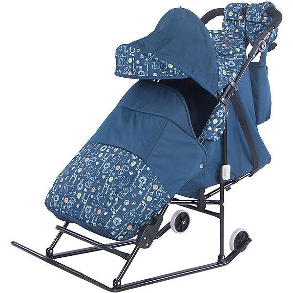Санки-коляска ABC Academy Зимняя сказка 3В Авто, черная рама, синий/зоопарк