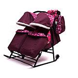Санки-коляска для двойни Зимняя сказка 3В Твин, черная рама, ABC Academy, бордовый/снежинки