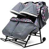 Санки-коляска для двойни Зимняя сказка 3В Твин, черная рама, ABC Academy, серый/снежинки